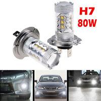 2x/1set H7 80W 6000K LED FRONT TAIL FOG CAR DRL XENON WHITE BULBS LIGHTS