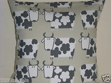 """16"""" CUSHION COVER COUNTRY COTTAGE FARM COWS SHABBY SCANDI BEIGE BLACK FUNKY"""