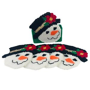 Vintage Christmas Snowman Finished Needlepoint 4 Coaster Set with Caddy