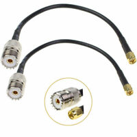 2 Pcs UHF SO239 Female To SMA Male Plug Connector RG58 RF Coax Cable pigtail 8''