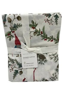 """New Pottery Barn Forest Gnome Organic Shower Curtain 72"""""""