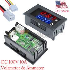 1 10pcs Dc 100v 10a Digital Voltmeter Ammeter Blue Red Led Volt Amp Meter Gauge