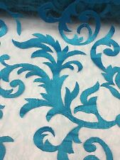 Turquoise Fire Flame With Mesh Backing Elegant Lace Fabric Sold By The Yard
