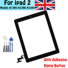 For iPad 2 A1395 A1396 A1397 Black Touch Screen Glass Digitizer +Button&Adhesive