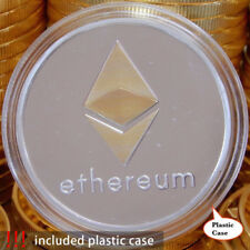Silver Plated Commemorative Collectible ETH Ethereum Miner Coin In Acrylic Case