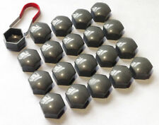 20 x 17MM ALLOY WHEEL HEX NUT/BOLT CAPS COVERS + TOOL Grey For Audi Cars