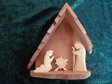 kleine Weihnachtskrippe Krippenstall Holz Krippe mit Hl. Familie