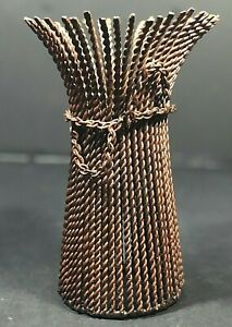 """Home Decor Candle Holder Twisted Metal Large Candle Color Brown 10""""Tx6.5""""Dia GUC"""