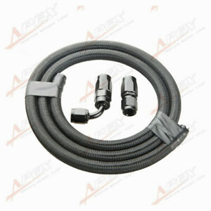 Nylon Cover Braided Oil Fuel Gas Line Hose 1M + 4AN AN4 Hose End Fitting Adapter