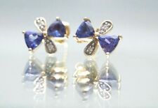 14k Yellow Gold Genuine Tanzanite Earrings With Diamond Accents