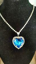 Vintage Huge Royal Blue Antique Rhinestone Heart Necklace estate jewelry