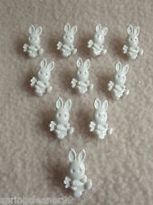 10 x WHITE BUNNY RABBIT SHAPED BUTTONS ~ size approx 18mm x 10mm ~ BABIES/CRAFT