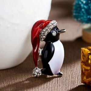 Lovely Merry Christmas Cute Penguin Crystal Brooch Pin Women Party Jewelry Gifts