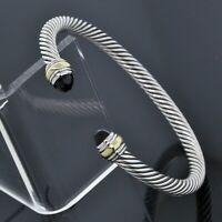 David Yurman Silver 14K Yellow Gold 5mm Black Onyx Cable Classic Cuff Bracelet