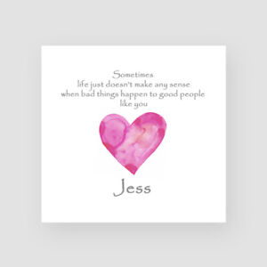 Personalised Handmade Get Well Soon Card Cancer Operation Sympathy Pink Heart