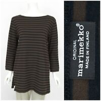 Womens Marimekko Tunic T-Shirt Long Sleeve Striped Brown Cotton Size XL