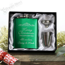 Christmas Engraved Green 7oz Hip Flask Gift Set Present Personalised Gift Boxed