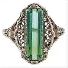 Vintage Silver Emerald Baguette Princess Retro Diamond Ring Jewelry Size 8