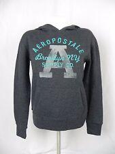 NEW Aeropostale Dark Gray Logo Fleece Hoodie Sweatshirt Size XS (F1-17)