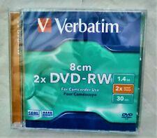Verbatim 8cm 2x DVD-RW For Camcorder Video Camera 2x Speed 1.4GB 30 min Sealed