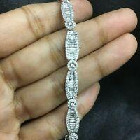 4.12 Ct Baguette White Natural Diamond Tennis Bracelet White Gold 14k 7.5 Inch