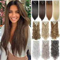 8 Pieces Clip In Hair Extensions Full Head Natural As Human Real Long Straight U