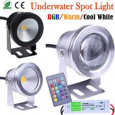 10W LED Spot Luz Rgb fresco caliente bajo el agua estanque de jardín Lámpara IP68 + 12V Adaptador
