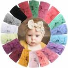 18 Pieces Nylon Newborn Headband Hair Bows Elastics Soft Band for Infant Toddler