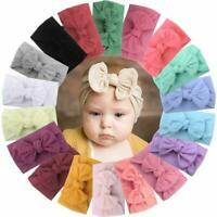 18 Pieces Nylon Newborn Headband Hair Bows Elastics Soft Band for Infant Toddler