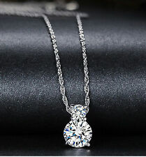 Platinum Plated Sterling Silver 1ct Cubic Zirconia Necklace