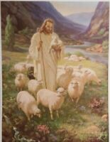 SALLMAN Vintage LORD IS MY SHEPERD 1942 Lithograph 8 3/8 X 11 1/2
