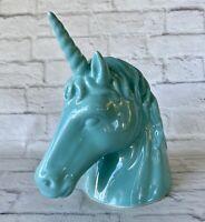 Ceramic Unicorn Bank Turquoise Aqua  Horn 3D Mane Head 2012 Target Glossy