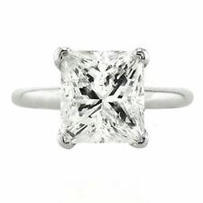Certified 1.00 Ct Princess Cut Diamond Moissanite Engagement Ring 14K White Gold