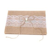 Wedding Bride Pretty Vintage Rustic Guest Book Burlap Hessian Lace - Kyoto