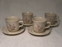 Pfaltzgraff Tea Rose Coffee Tea Cups Mugs and Saucers Set of 4 - Fast Free Ship