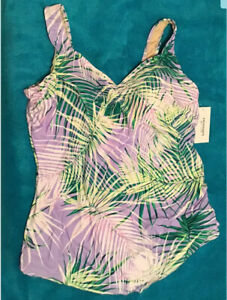 Swimsuits For All Palm Frond Print Sarong Front One Piece Swimsuit Plus Size 26