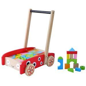 Lauflern-Wagen Lauflernhilfe Motorik-Spielzeug Lauflernwagen Bausteine Holz Neu
