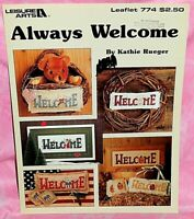 Leisure Arts Always Welcome Cross Stitch Chart Leaflet Seasonal Holiday Signs