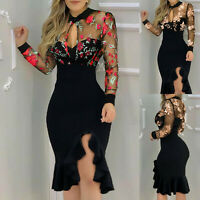 Women Sexy Dress Slit Ruffles Hem Floral Pattern Slimming Lace Long Sleeve Dress