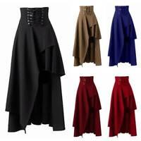 Womens High Waist Lace Up Gothic Asymmetric Midi Skirts Flared Steam Punk Skirts
