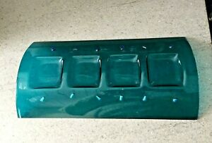 Glass Hand crafted Sea Green 4 tee light holder 29 cm x 14cm x 3cm approx
