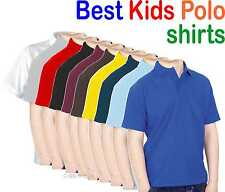 KIDS QUALITY POLO SHIRT PLAIN SCHOOL UNIFORM BOYS GIRLS CHILD CHILDREN 2-13yrs