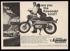 1967 Kawasaki Samurai SS 250 motorcycle photo & Shelby Cobra race car art ad