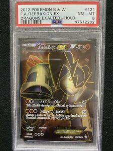 2012 Pokemon B&W Dragons Exalted Terrakion EX Holo Full Art 121/124 PSA 8 NM-MT
