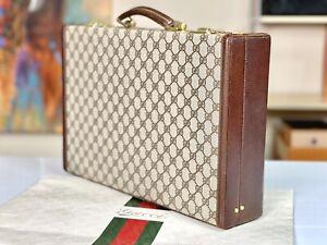 "GUCCI Italy Supreme 17"" Vintage Restored Hard Case Lawyer Briefcase Attache Bag"