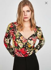 Zara Size Small (8) Floral Wrap Front Plunge Bodysuit Poppers Long Sleeve