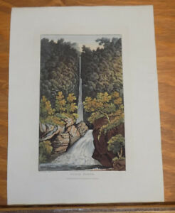 1821 Print, Aquatint Tour of English Lakes///SCALE FORCE WATERFALL