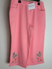 NWT Quacker Factory Light Coral Capris Pants Peacock Feathers Med.