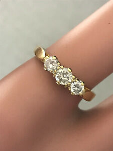 Lovely 18ct 3 Stone eternity Half Ct DIAMOND RING,nice Piece FULL UK hallmark