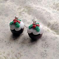 Christmas Pudding Drop Earrings Handmade Kitsch Festive Cute Party fimo Xmas